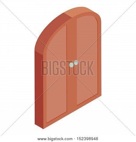 Brown double door icon. Cartoon illustration of door vector icon for web design