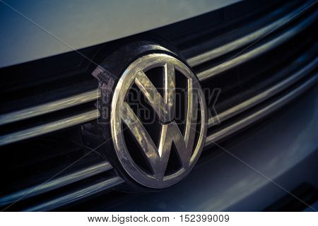 St. Petersburg, Russia, October 18, 2016 the emblem of the brand Volkswagen, Volkswagen of Germany's largest automotive group
