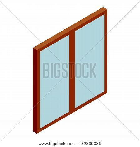 Double glass door icon. Cartoon illustration of door vector icon for web design