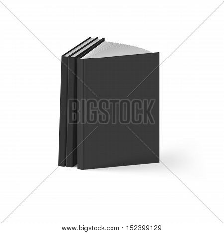 Stack of Black Books on White Background. Mockup Template