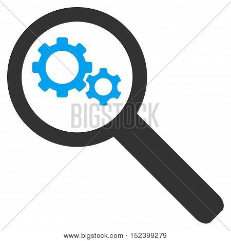 Search Gears Tool vector pictogram. Style is flat graphic bicolor symbol, blue and gray colors, white background.