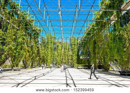 Zurich, Switzerland - June 28, 2016: MFO public park in the Oerlikon quarter of Zurich city in Switzerland. This Park-Haus is a double-walled steel-framed construction covered with plants.