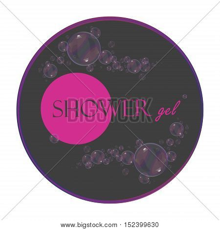Vector label for packing shower gel cosmetic labels banner branding. Bubbles.