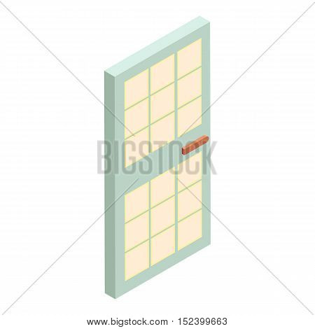 House door with glass icon. Cartoon illustration of door vector icon for web design