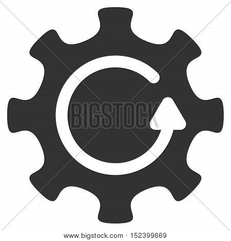 Cog Rotation Direction vector pictograph. Style is flat graphic symbol, gray color, white background.