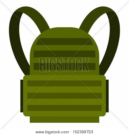 Military backpack icon. Flat illustration of backpack vector icon for web design