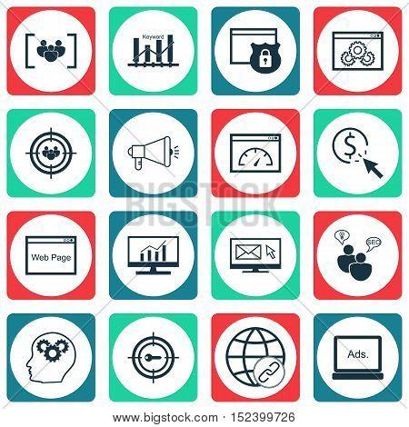 Set Of Marketing Icons On Focus Group, Digital Media And Keyword Marketing Topics. Editable Vector I
