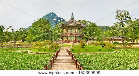 Hyangwonjeong Pavilion. Gyeongbokgung Palace. Seoul. South Korea. Panorama