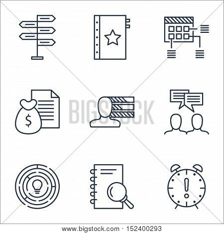 Set Of Project Management Icons On Innovation, Schedule And Analysis Topics. Editable Vector Illustr