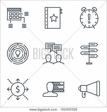 Set Of Project Management Icons On Personal Skills, Announcement And Warranty Topics. Editable Vecto