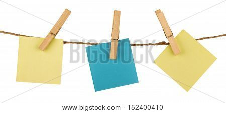 Three Sticky Notes Hanging on Twine Attached with Clothespins - Isolated