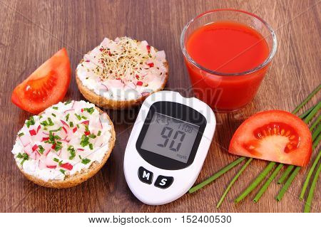 Glucometer, Freshly Sandwich With Cottage Cheese And Vegetables, Tomato Juice