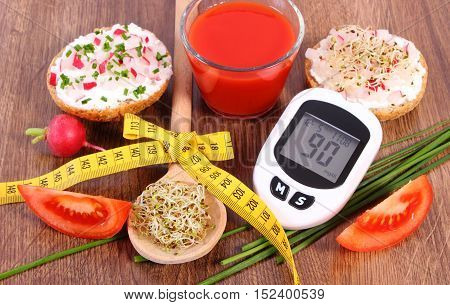 Glucometer, Freshly Sandwich, Tomato Juice And Centimeter, Diabetes, Healthy Nutrition