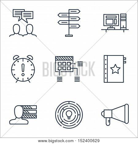 Set Of Project Management Icons On Discussion, Schedule And Warranty Topics. Editable Vector Illustr