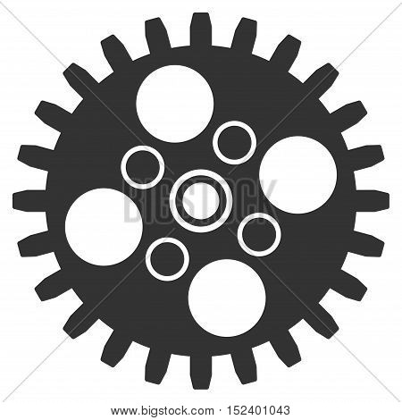 Cogwheel vector icon. Style is flat graphic symbol, gray color, white background.