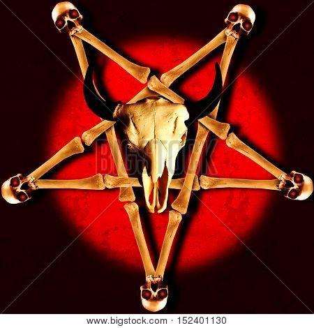 Pentagram made of crossed bones with human and animal skulls