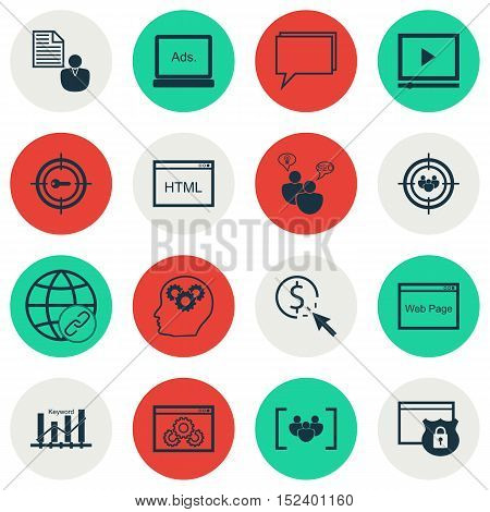 Set Of Advertising Icons On Security, Focus Group And Conference Topics. Editable Vector Illustratio