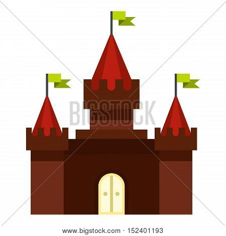 Medieval castle icon. Flat illustration of castle vector icon for web design