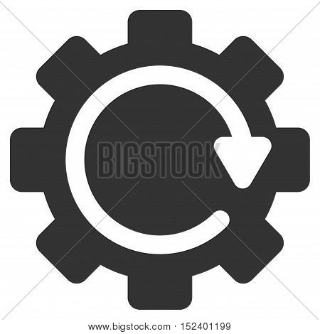 Gear Rotation Direction vector pictogram. Style is flat graphic symbol, gray color, white background.