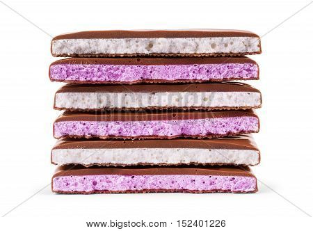 chocolate bar with yogurt filling on a white background