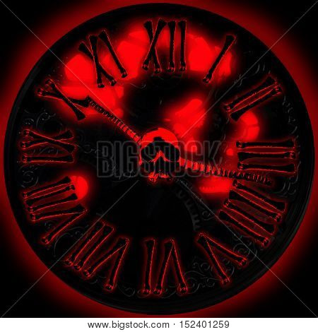 Devils clock. Mechanical clock with bones and skull. Hell clock. Gothic concept. Horror concept. Halloween concept.