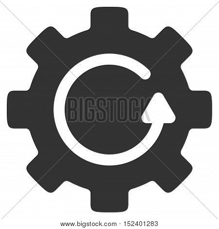 Gear Rotation vector pictogram. Style is flat graphic symbol, gray color, white background.