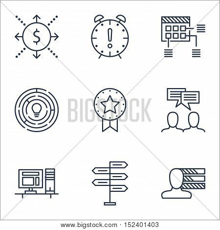 Set Of Project Management Icons On Personal Skills, Computer And Time Management Topics. Editable Ve