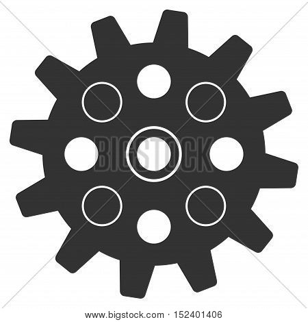 Gearwheel vector pictogram. Style is flat graphic symbol, gray color, white background.