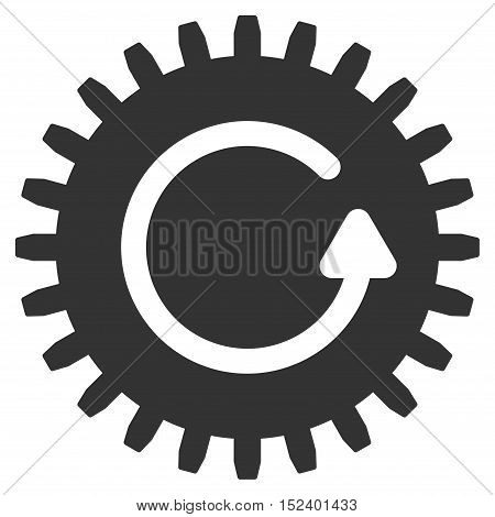 Rotate Cog vector icon. Style is flat graphic symbol, gray color, white background.