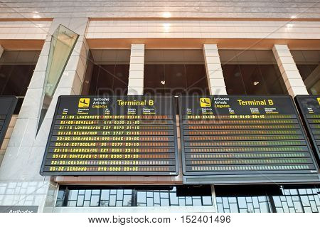 BARCELONA, SPAIN - CIRCA NOVEMBER, 2015: arrival board at Barcelona Airport. Barcelona-El Prat Airport is an international airport. It is the main airport of Catalonia, Spain.