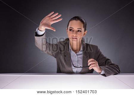Businesswoman holding hands in business concept