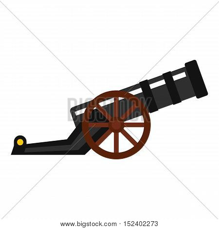 Ancient cannon icon. Flat illustration of cannon vector icon for web design
