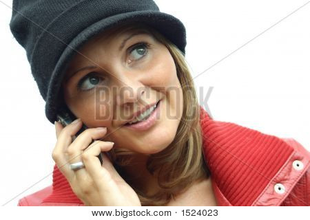 A Beautiful Red Woman With Phone
