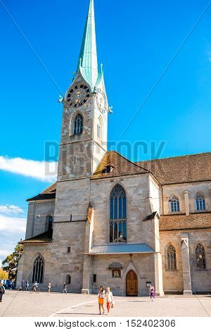 Zurich, Switzerland - June 28, 2016: View on Fraumunster church in the old town of Zurich city in Switzerland