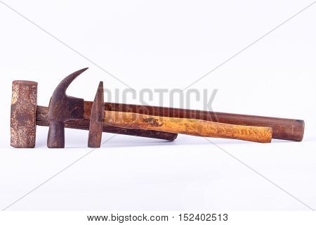 old Traditional curved claw hammer and Tack hammer and Sledge hammer used on white background tool isolated