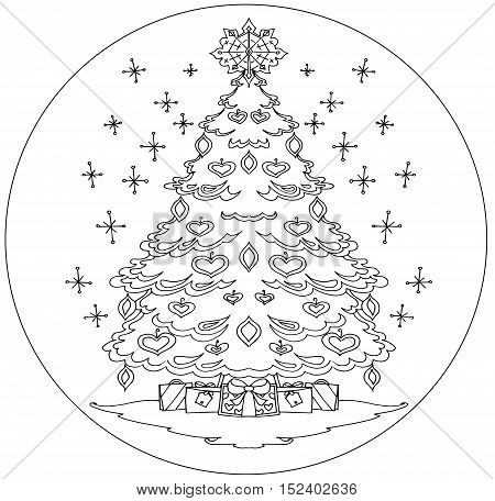 Christmas tree coloring mandala on a white background.