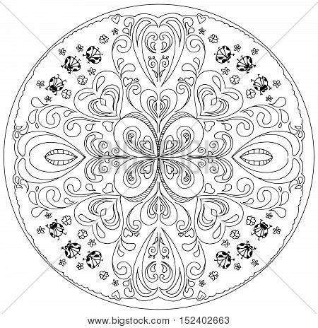 Decorative floral coloring mandala with ladybirds on a white background.