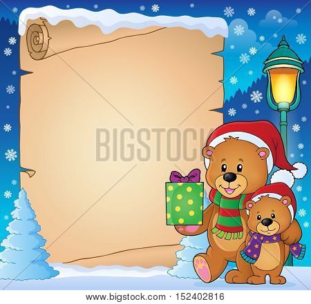 Parchment with Christmas bears theme 3 - eps10 vector illustration.