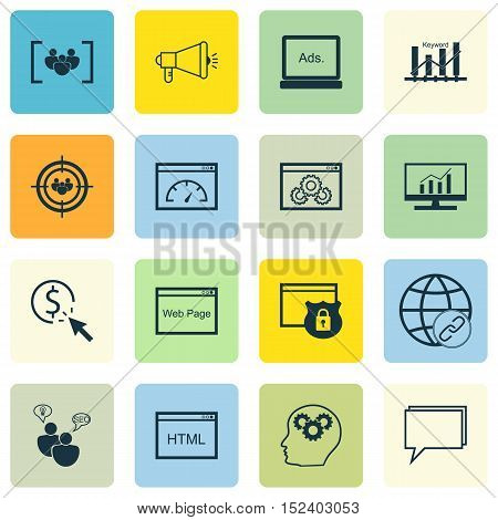 Set Of Seo Icons On Digital Media, Focus Group And Conference Topics. Editable Vector Illustration.