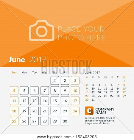 June 2017. Calendar For 2017 Year. Week Starts Sunday. 2 Months On Page. Vector Design Print Templat