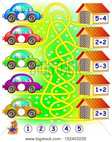 Exercises for children who needs to find the garage for each car and to write the numbers in relevant circles. Developing skills for counting. Vector image.