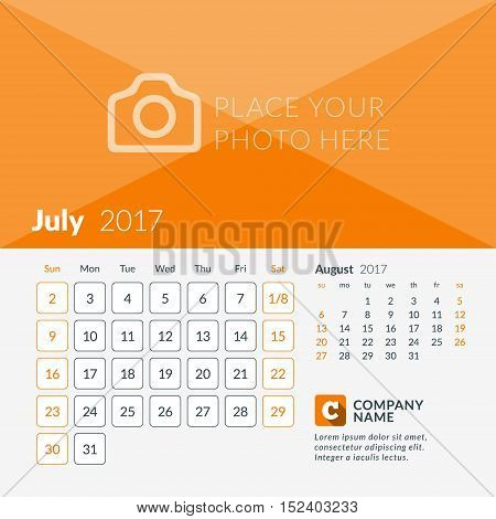 July 2017. Calendar For 2017 Year. Week Starts Sunday. 2 Months On Page. Vector Design Print Templat