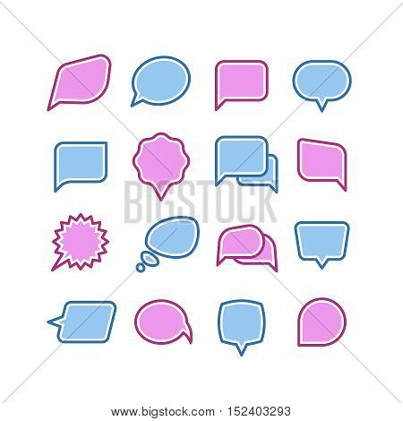 Speech bubbles, conversation, chat text dialogue icons vector set. Message dialog for communicate illustration