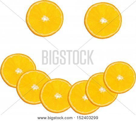 Orange slices in the shape of a smiley face