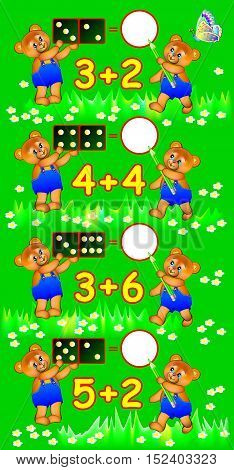 Exercises for children - need to solve examples and to write the numbers in relevant circles. Developing skills for counting. Vector image.