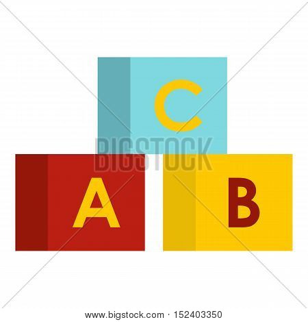 Alphabet cubes icon. Flat illustration of cubes vector icon for web design
