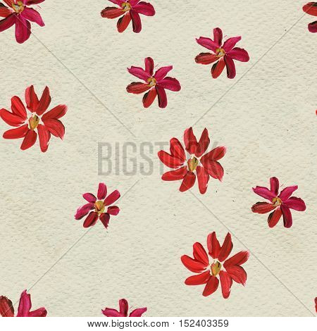 Seamless pattern with red flowers. Floral watercolor background.