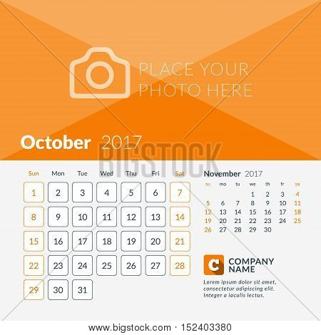 October 2017. Calendar For 2017 Year. Week Starts Sunday. 2 Months On Page. Vector Design Print Temp