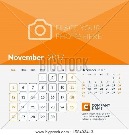 November 2017. Calendar For 2017 Year. Week Starts Sunday. 2 Months On Page. Vector Design Print Tem