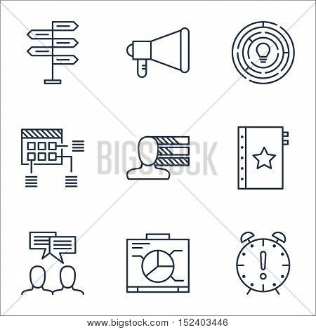 Set Of Project Management Icons On Opportunity, Announcement And Personal Skills Topics. Editable Ve